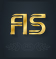 a and s initial golden logo as - metallic 3d icon vector image vector image