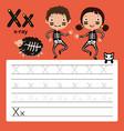 alphabet x worksheet learning english vocabulary vector image vector image