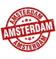 amsterdam red round grunge stamp vector image vector image