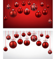 Arc background with red christmas balls vector image vector image