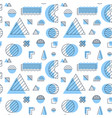 blue memphis objects seamless pattern vector image vector image