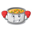 boxing vegetable soup with pasta in pot cartoon vector image
