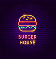 burger house neon label vector image vector image