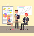 business conversation in office colorful poster vector image vector image