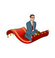 businessman on magic carpet pop art vector image vector image
