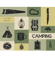 camping icons set in silhouette retro style vector image vector image
