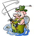cartoon a happy fly rod pig fisher vector image