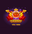casino awards 777 casino rating icons with poker vector image vector image