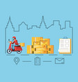 courier man of logistic service in motorcycle vector image