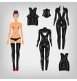 dress up paper doll with fetish latex costumes vector image