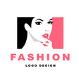 fashion girl with black hair logo vector image vector image