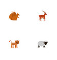 flat icons panther moose chipmunk and other vector image vector image