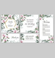 floral template for wedding invitations pink royal vector image vector image