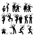 funny people prank playful actions stick figure vector image