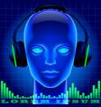 futuristic artificial head in blue light vector image