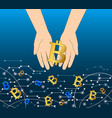getting money from virtual flow business bitcoin vector image vector image