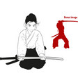 girl training with sword vector image vector image