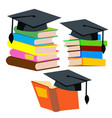 graduation cap on top of a stack of books vector image vector image