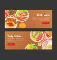grill house tasty dishes landing page templates vector image