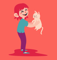 Happy Girl Holding her Pet Cat vector image vector image