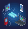 isometric power bank charger concept vector image vector image