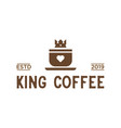 king coffee vintage logo design inspiration in vector image