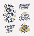 kitchen related lettering calligraphy set vector image vector image