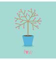 love tree in pot heart flower word love blue vector image vector image