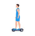 man riding an electric hoverboard vector image vector image