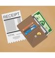money cash and receipt vector image vector image