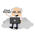 old man is on cloud on white background vector image vector image