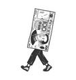 one hundred yuan walk sketch engraving vector image