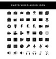 photo video glyph style icon set vol1 vector image vector image