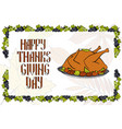 postcard with turkey for a happy thanksgiving vector image