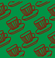 red and green tea cups seamless pattern design vector image