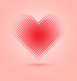 Red heart halftone on pink background vector image