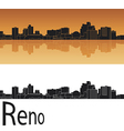 Reno skyline in orange background vector image vector image