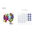 Rooster calendar 2017 for your design November vector image vector image