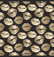 seamless pattern with golden lips print gold lips vector image