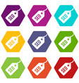 seo tag icon set color hexahedron vector image vector image