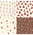 Set of cake seamless patterns vector image vector image