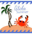 set of summer icons crab under palm tree image vector image