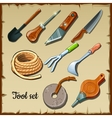 Set of tools gardeners on parchment paper vector image