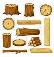 set of wood logs for forestry and lumber industry vector image vector image