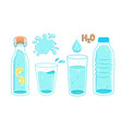 set water in bottles and glasses vector image vector image