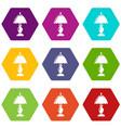 shade lamp icons set 9 vector image vector image