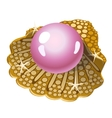Single pink pearl in a Golden shell isolated vector image vector image
