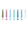 striped silk neckties templates with textures set vector image