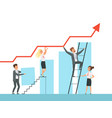 team building business managers growth up stairs vector image