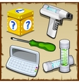 Toolbox box calculator test tube inventor vector image